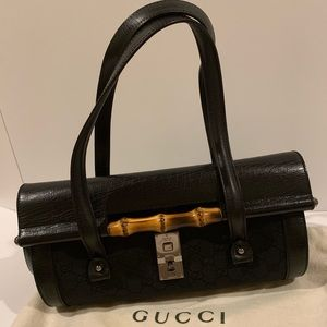 Auth Gucci Bamboo Canvas Leather Bullet Satchel